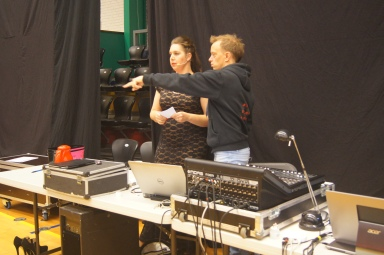 Our hostess Anja and sound engineer Mikkel coordinating the show